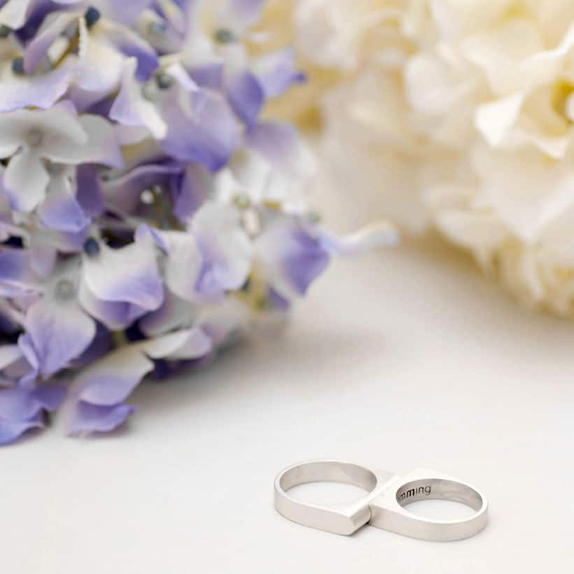 Brushed Silver Wedding Ring for couple fitting each other