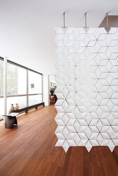 Our hanging room divider screen has a striking, intricate pattern all over.