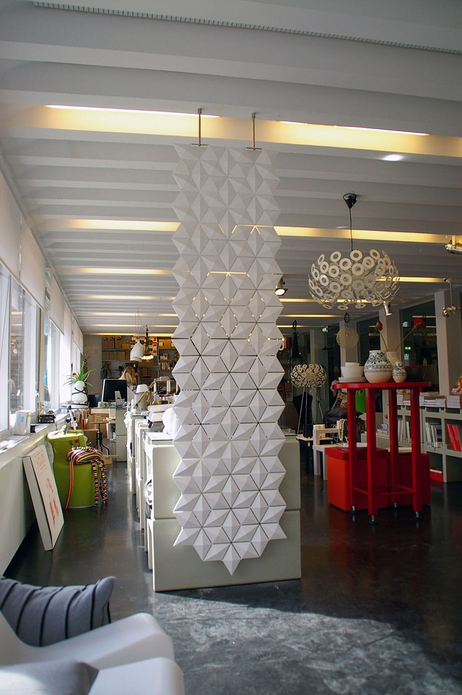 White Screen Room Divider ceiling mounted
