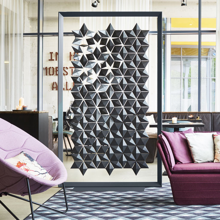 Freestanding Room Divider Facet in Black or Dark Gray