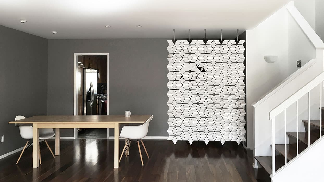 Hanging room divider Facet sustainable materials