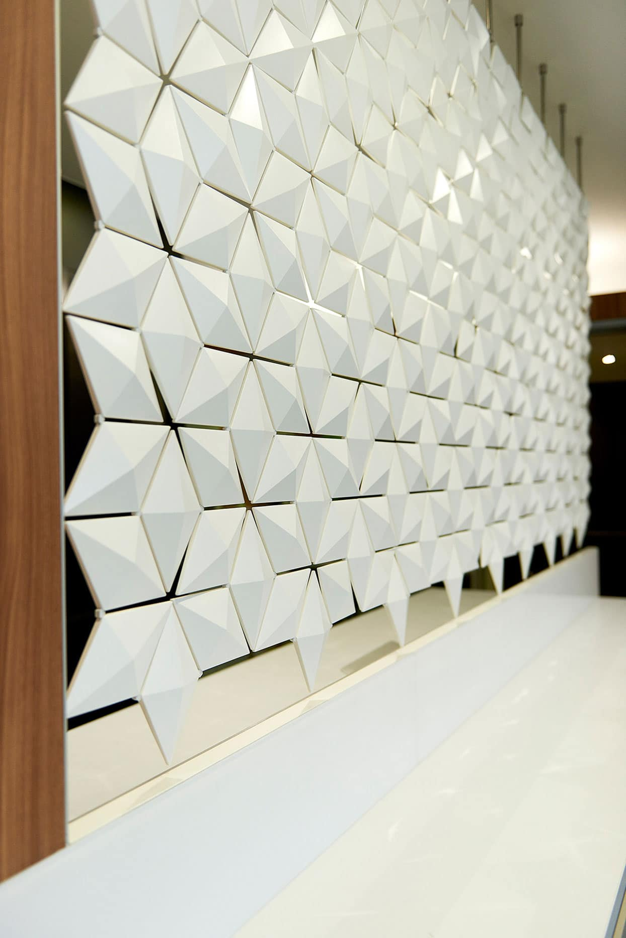 Office Front Desk Design With Diamond Texture