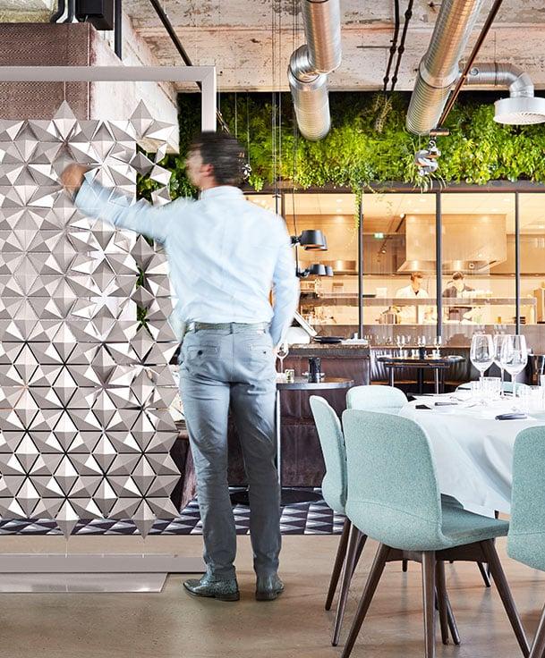 Freestanding Room Divider Facet Divides Spaces Elegantly
