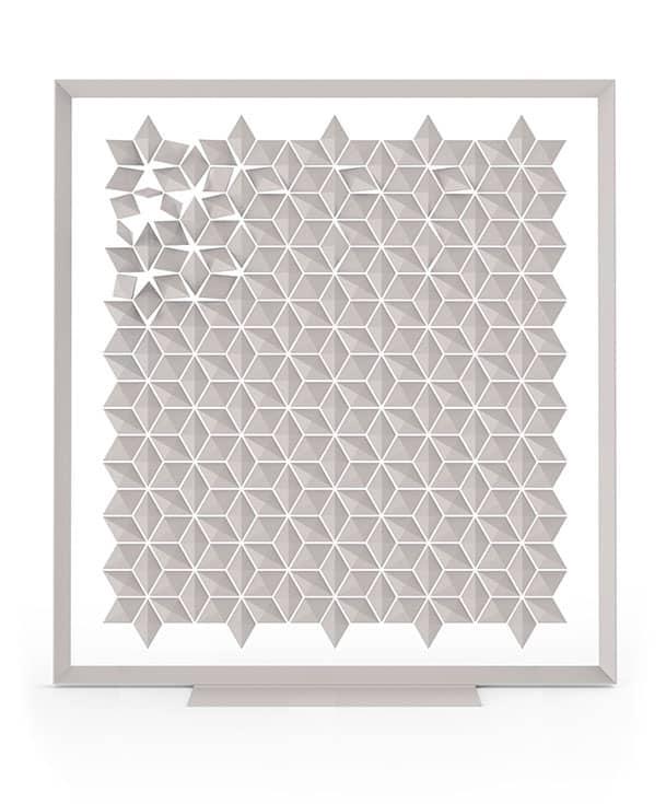 Freestanding Room Divider Facet Pearl Gray On White Background