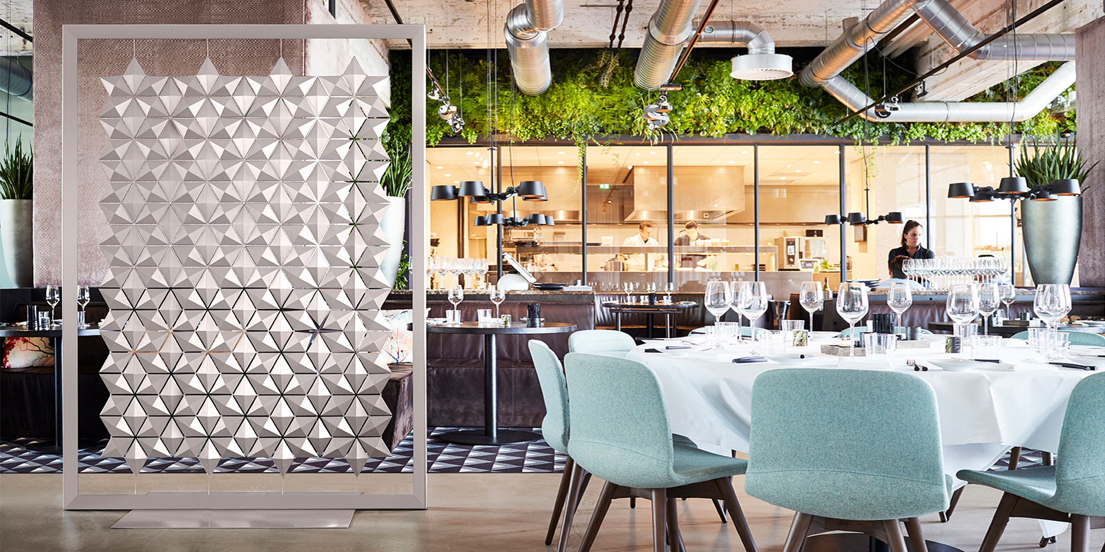 Freestanding Room Divider Facet The Perfect Gray Restaurant Space Divider