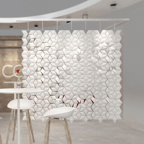 Booth divider which is decorative and functional