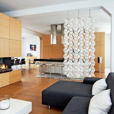Hanging Room Divider Facet In Color White Divides Kitchen and Living Room