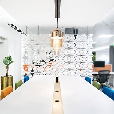 Open Office Plan Hanging Screen Offers A Subtle And Creative Divider For Open Office Plans